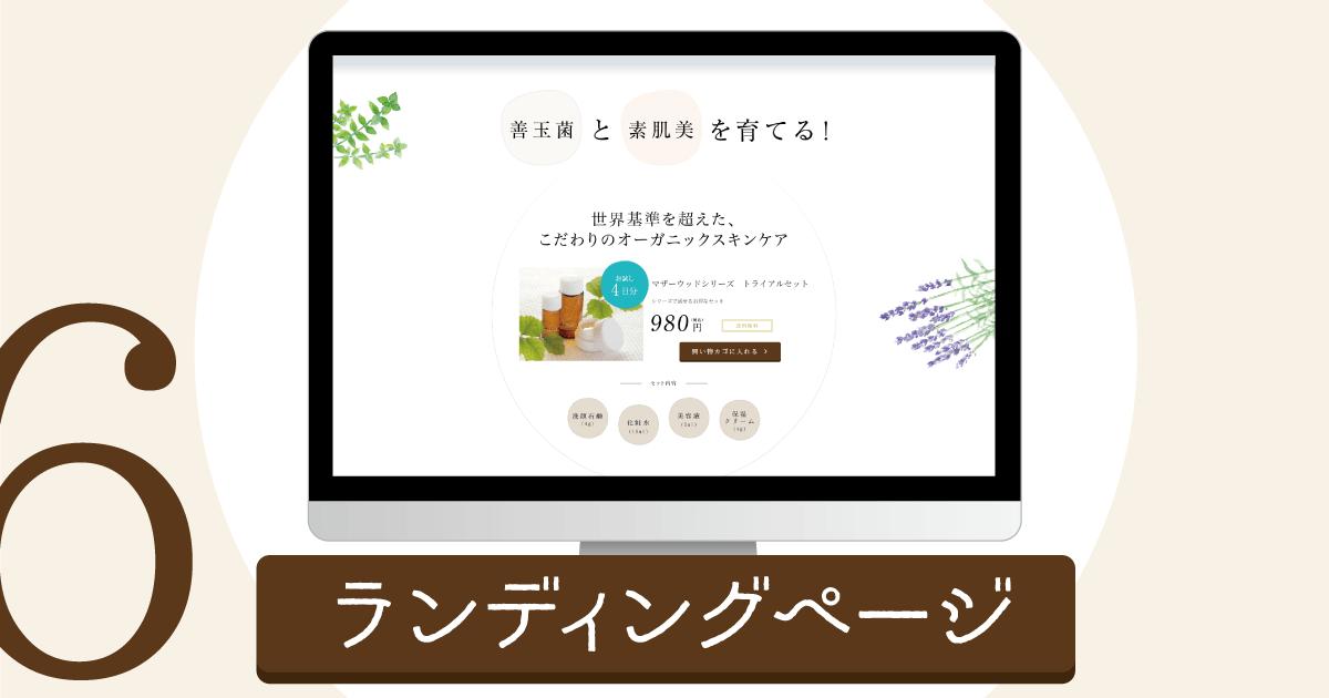 Webサイトの種類、ランディングページの例示です。